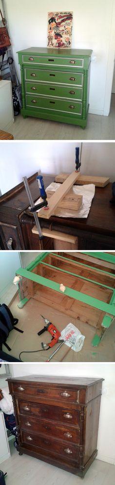 Cómoda restaurada y pintada a la tiza.