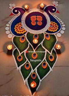Rangoli Designs Peacock, Rangoli Designs Simple Diwali, Rangoli Designs Latest, Rangoli Patterns, Free Hand Rangoli Design, Small Rangoli Design, Rangoli Border Designs, Rangoli Ideas, Rangoli Designs With Dots