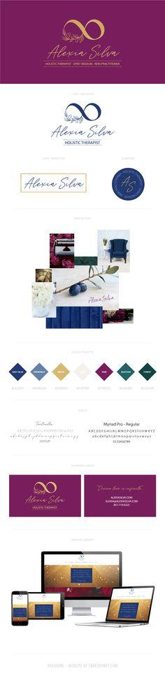 Branding board for Alexia Silva. Holistic brand, healer brand, psychic medium, reiki practitioner. #branding #brandingboard #brandinginspo #brand #brandboard #brandinspo #infinitylogo #farmhouse #rusticbrand #rustic #grapeleaves #blue #burgundy #green #gold Square Business Cards, Business Card Logo, Branding Portfolio, Web Design, Reiki Practitioner, Rack Card, Brand Board, Online Entrepreneur, Healer