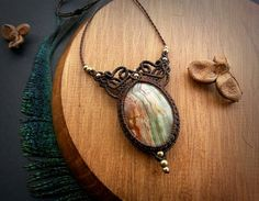 Green Onyx macrame necklace. Bohemian jewelry. Boho chic.