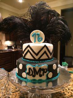 Sweet 16 cake #chevroncake #monogramcake #sweet16