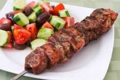 Souvlaki is easy to make at home, and it's a perfect use for those ultra thick pork loin chops. (Photo and recipe directions updated July 2008. The souvlaki skewer in this photo has more than one pork chop.)  Souvlaki is easy to make and delicious and I think it's the perfect thing for summer grilling. …