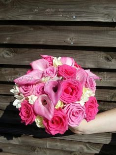 Pink Calla Lilies and Roses Bouquet, by Lily King Weddings