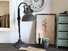 We are passionate about the Chic Antique Factory Table Lamp in Antique Black. The attractive lamp makes industrial-look lovers' hearts beat faster. Shabby Vintage, Chic Antique, Vintage Farm, Shabby Chic, Vintage Chic, Table Desk, Desk Lamp, Table Lamp, Birthday Wishes Messages