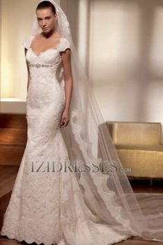Sheath/Column V-neck Lace Wedding Dress - IZIDRESSES.COM at IZIDRESSES.com