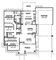 Floor Plans - 1 Story Bungalow Home with 3 Bedrooms, 2 Bathrooms and total Square Feet Bungalow Floor Plans, Craftsman Style House Plans, House Floor Plans, Desk Nook, Garage Bedroom, Bungalow Homes, House Layouts, Future House, House Design