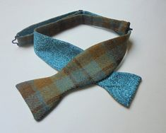 1d690c7dcd0f Blue/Mustard/Turquoise Check Wool Tweed self tie bow tie with Liberty Tana  Lawn
