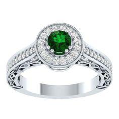 1.64 CT Halo Engagement Fligree Emerald Ring in 14k White Gold Over Silver #RegaaliaJewels #HaloEngagementRing