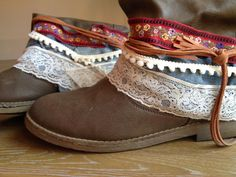 Handmade boots decoration.