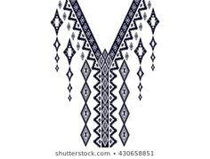 Geometric ethnic pattern neck embroidery design for background or wallpaper and clothing. Border Embroidery Designs, Embroidery Motifs, Ribbon Embroidery, Cross Stitch Embroidery, Cross Stitch Designs, Cross Stitch Patterns, Motifs Blackwork, Custom Birthday Shirts, Cross Stitch Geometric