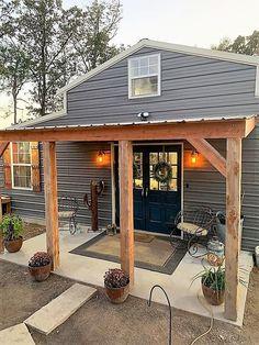 Metal Barn Homes, Metal Building Homes, Pole Barn Homes, Building A House, Building A Small Cabin, Small Rustic House, Tiny House Cabin, Small Barn Home, Pole Barn House Plans