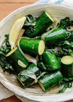 Deborah Madison's Zucchini Logs Stewed in Olive Oil with Onions and Chard