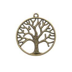 Antique Brass Pewter 35mm Tree Of Life Pendant
