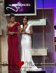 First Lady with Gabrielle Union presenting an award to Dr. Maya Angelou at the 2012 BET Honors.