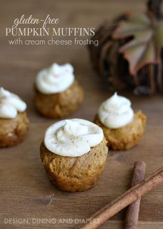 Here is a quick and easy recipe for Gluten Free Pumpkin Muffins with a little cream cheese frosting to top them off. One bite with a burst of flavor that screams fall.: Here is a quick and easy recipe for Gluten Free Pumpkin Muffins with a little cream cheese frosting to top them off. One bite with a burst of flavor that screams fall.