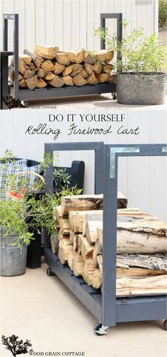 You want to build a outdoor firewood rack? Here is a some firewood storage and creative firewood rack ideas for outdoors. Lots of great building tutorials and DIY-friendly inspirations! Outdoor Firewood Rack, Outdoor Storage, Patio Storage, Indoor Firewood Storage, Firewood Holder, Storage Rack, Wood Projects, Woodworking Projects, Wood Cart