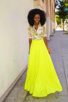 Vintage Shirt + Neon Maxi Circle Skirt