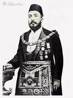 Khedivi Tewfik Of Egypt A Standing Portrait. Mohamed Tewfik Pasha, also known as Tawfiq of Egypt, was khedive of Egypt and the Sudan between 1879 and 1892 and the sixth ruler from the Muhammad Ali Dynasty. Old Egypt, Ancient Egypt, Illuminati, Famous Freemasons, Modern Egypt, African Royalty, Masonic Lodge, Masonic Symbols, Eastern Star
