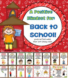 Back to School growth and fixed mindset letter sized teaching posters with kid appropriate language and helpful illustrations.