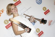 Alison Balsom receives an award at the Echo Klassik 2012 award ceremony at Konzerthaus Berlin on October 14 2012 in Berlin Germany