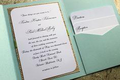 Teal or Aqua Beach or Seaside Wedding Invitation, Pocket   Flickr - Photo Sharing!