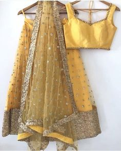 Yellow Embroidered Attractive Party Wear Lehenga Choli with Matching Color unstiched blouse. It contained the Embroidered work with inner. The Lehenga can be customized up to bust size 44 , Lehenga Length 48 , Waist size 38 , and Dupatta size Mtr. Indian Lehenga, Indian Bridal Sarees, Indian Wedding Wear, Blouse Lehenga, Lehenga Choli, Gold Lehenga, Lehenga Designs, Indian Attire, Indian Wear