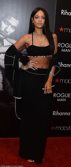 Exotic scents: Rihanna's fashion choice for the event only highlighted the oriental-woody character of Rogue Man