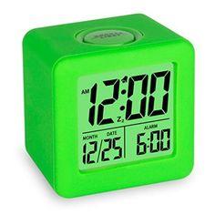 Digital Travel Alarm Clock Calendar w/ Snooze Soft Nightlight Green Design Gift #Plumeet