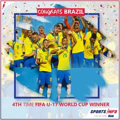 Brazil won FIFA World Cup for the time after defeating Mexico on Sunday with a score of Kaio Jorge and Lazaro Vinicius Marques scored goals for Brazil and Bryan Gonzalez for Mexico in the match. World Cup Winners, Steve Smith, Fifa World Cup, Brazil, Mexico, Football, Sports, Sunday, Goals