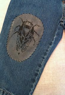 Infant jeans printed by Diane Ericson - Fun stenciled patch!  #wardrobechallenge