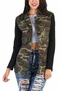 LoveMelrose.com From Harry & Molly   Army Camo Black Sleeve Jacket