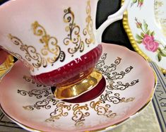 ROYAL ALBERT tea cup and saucer pink and red overture series teacup pattern