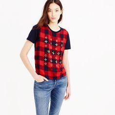"A dressier take on the everyday T-shirt: this one features a silky tartan overlay with hand sewn embellishments (specially created by our design team). <ul><li>Slightly loose fit.</li><li>Body length: 23 1/4"".</li><li>Cotton.</li><li>Hand wash.</li><li>Import.</li></ul>"