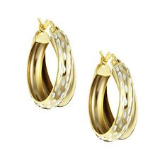 Gold over 925 Silver Double Hoop Diamond-Cut Earrings. Deal Price: $19.99. List Price: $45.00. Visit http://dealtodeals.com/gold-silver-double-hoop-diamond-cut-earrings/d21300/jewelry/c12/