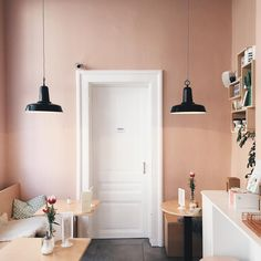 Mirlo's in Antwerp by Petite Passport Best Home Interior Design, French Interior, Contemporary Interior Design, Interior Paint, Interior Decorating, Interior Shop, Light Pink Walls, Pastel Walls, Coffee Shop Design