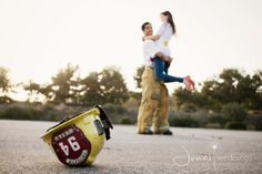 I'm now obsessed with firefighter couple pictures. (: