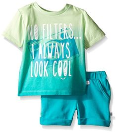 Rosie Pope Little Boys 2 Piece Ombre Graphic Tee with Heathered French Terry Short Set Pantina Green 12 Months >>> Be sure to check out this awesome product.Note:It is affiliate link to Amazon.