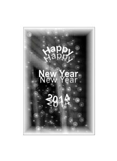 Happy New Year 2014 Poster, Black & White Bubbles, Soft Focus, Retro Style Poster, Celebrate / New Years Eve, Snowy,  FREE SHIPPING USA