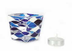 Items similar to Hand Painted Glass Candle Holder Tea light mini candle holder White cobalt blue waves contemporary abstract design on Etsy