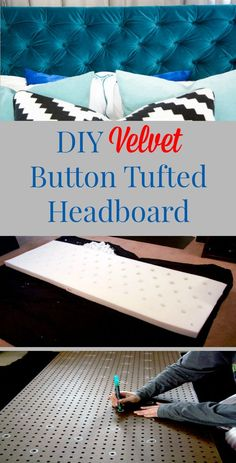 DIY Velvet Diamond Button Tufted Headboard with tutorial