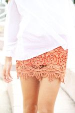 Everything Fabulous : perfect coral lace skirt Lace Mini Skirts, Cute Skirts, Lace Skirt, Coral Skirt, Orange Skirt, Fitted Skirt, Lace Dresses, Short Skirts, Sexy Dresses