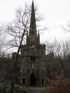 The abandoned Abney Park Chapel at the Abney Park Cemetery in the borough of Hackney, London, England.