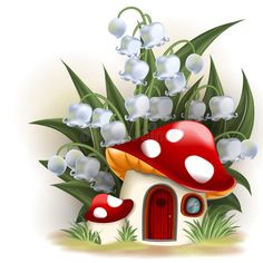 Illustration about Lily of the valley and mushroom house. Illustration of illustration, door, house - 34903329 Mushroom House, Mushroom Art, Lily Of The Valley, Fabric Painting, Cute Drawings, Painted Rocks, Art For Kids, Diy And Crafts, Stuffed Mushrooms