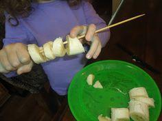 Montessori inspired snack--banana skewers...too sharp?