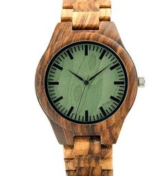 BOBO BIRD K24 Zebra Wood Wristwatch Green Basic Dial Mens Quartz Watch with Wood/Leather Strap Available in Gift Box