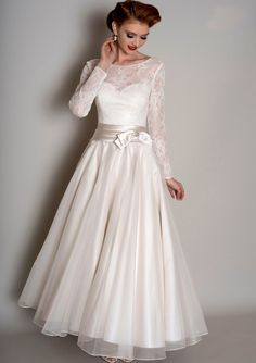 A-Line Lace Long-Sleeve Floor-Length Scoop-Neck Satin Tulle Wedding Dress  With Bow - Dorris Wedding e8155c8018d6