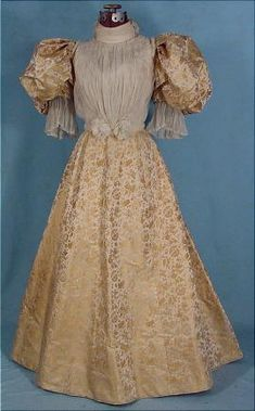 c. 1895 2-piece Gold and Ivory Brocade Dinner Gown with Pleated Chiffon