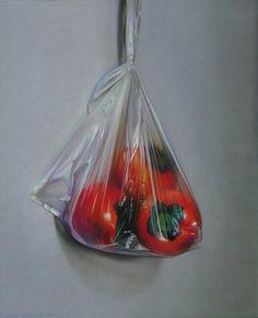 ANDREW HEMINGWAY: Still life Sharon Fruit and Plastic