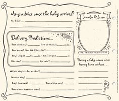 Couples Baby Shower Guestbook Pages by GuestbookStore on Etsy, $16.00. Could probably DIY....