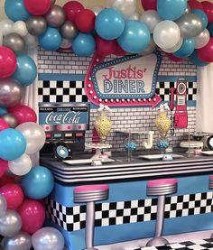 Retro Birthday Parties, 50s Theme Parties, Adult Party Themes, 50th Birthday Party, 1950s Theme Party, Wife Birthday, Birthday Gifts, Happy Birthday, Grease Themed Parties